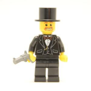 Lego Minifigur Gentlemen mit Zylinder & Waffe (Custom)