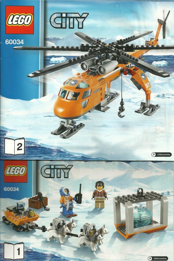 60034 LEGO City Bauanleitung Arctic Helicrane Arktis-Helikopter mit Hundeschlitten