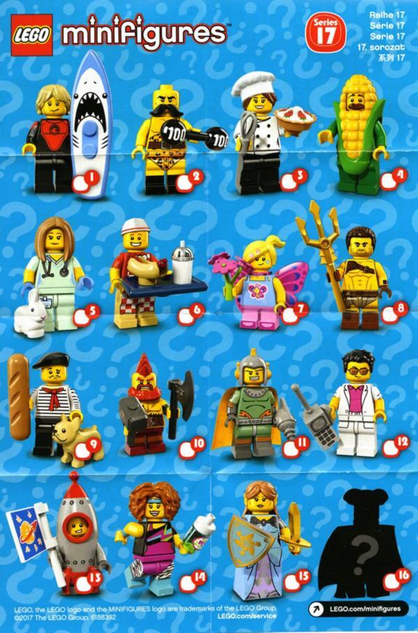 Lego Minifigur serie 17 uebersicht beipackzettel 71018