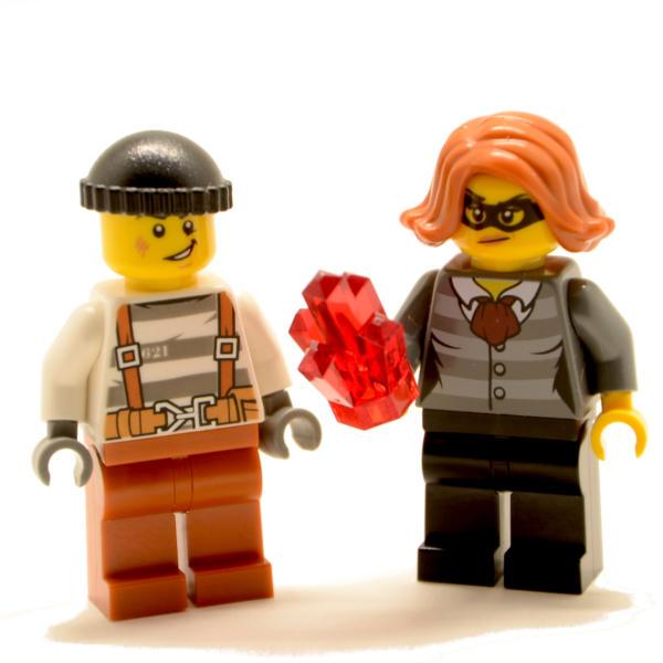 Lego Minifiguren Bankräuber Banditen mit Bergkristall (Custom)
