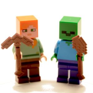 Lego Minifigur Minecraft mit Waffe (Custom)