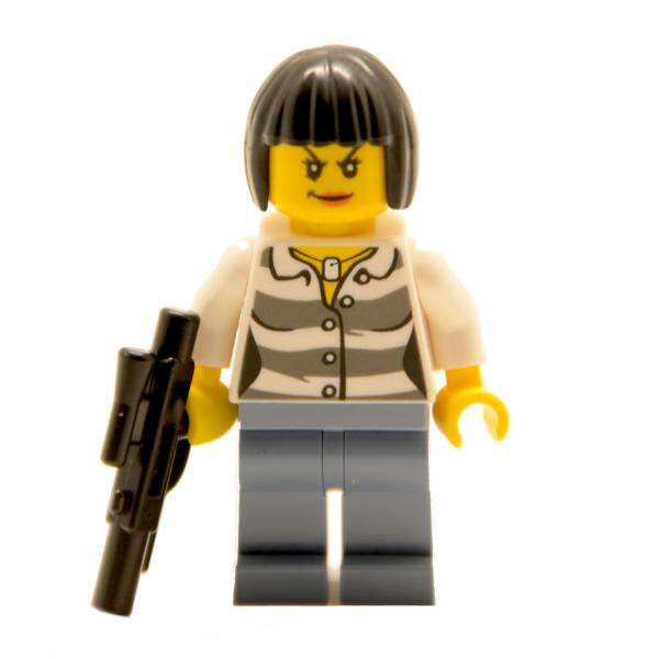 Lego Minifigur Gaunerin mit Waffe (Custom)