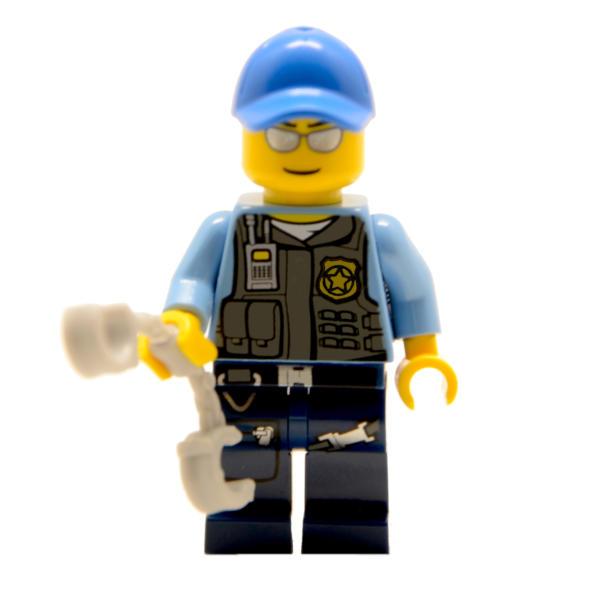 Lego Minifigur Polizist mit Hut und Handschellen (Custom) (1)