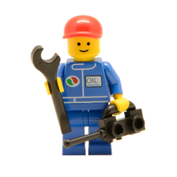 Lego Minifigur Octan Mechaniker mit Werkzeug (Custom)