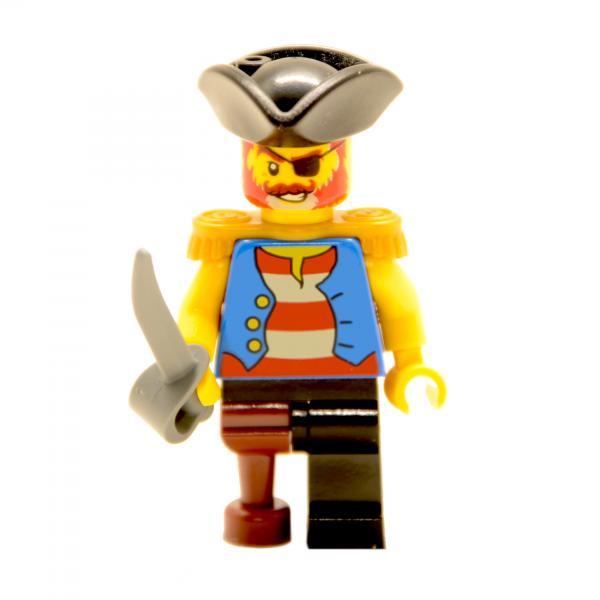 Lego Minifigur Pirat mit Säbel und Holzbein (Custom)